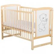 Patut copii din lemn Babyneeds Timmi 120x60 cm natur cu laterala culisabila