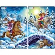 Set 2 Puzzle-uri Fata pe Cal 18 piese Larsen LRU9 B39016787