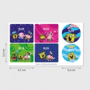 Stikets Sponge Bob Labels for Water Bottles and Tupperware
