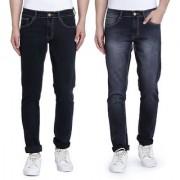 John Wills Men's Dark Black and Light Black Cotton Stretchable Slim Fit Jeans (Pack of 2)