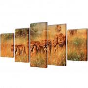 vidaXL Nyomtatott vászon falikép szett oroszlánok 200 x 100 cm