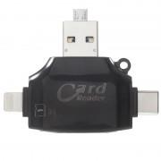 Leitor de Cartões de Memória MicroSD/SD 4-in-1 - Preto