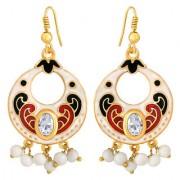 Spargz Simple Beauty Gold Plated Daily Wear White Meenakari Chandbali Hook Earrings For Women AIER 1059