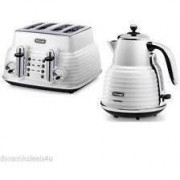 Delonghi Scultura Combo - 4 slice Toaster and 1.5L Kettle Free Delivery - Zinc White