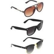 Zyaden Rectangular, Clubmaster, Wayfarer Sunglasses(Brown, Green, Black)