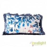 Perna design elegant albastra cu imprimeu floral 35x55cm Troyes 23304 VH