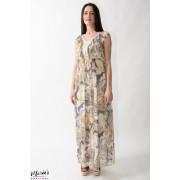 Rochie maxi crem din mătase cu imprimeu floral