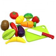 Little Treasures Kids Play Cutting Fruits and Vegies Toy Set Pretend Food Playset Fruit Pieces to be Sliced up with Knif