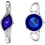 New Blue Dile Combo Pack 2 Silver Metal Strep Best Designing Stylist looking Brand Analog Watch For Women