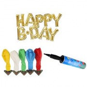 De-Ultimate Set Of HAPPY B.DAY Letters Foil Balloons 5 LED Lights Balloons Inflator Air Pump For Birthday Parties Decor