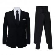 vidaXL Két darab 54-s méretű fekete férfi öltöny extra nadrággal