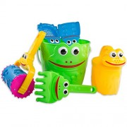 Kids Sand Toys Frog Bucket Set - Beach Toy Set with Bucket, Shovel, Rake, Sifter, Watering Can and More for Boys, Girls & Toddlers
