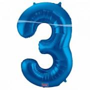 3. szám, fólia lufi, 86 cm, kék