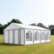 Intent24.fr Tente de réception 5x8m PVC 550 g/m² gris imperméable barnum, chapiteau