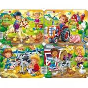 Set 4 Puzzle-uri Copii la Ferma, 9 piese