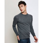 Uverny Pull 100% Cachemire Olivier col rond anthracite