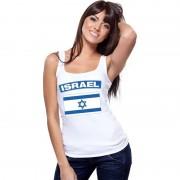 Bellatio Decorations Israel vlag mouwloos shirt wit dames