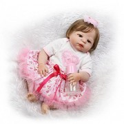 "Oumeinuo 22"" Full Body Silicone Reborn Dolls Lifelike Baby Anatomically Fresh Mama Correct Baby Girl Newborn Doll"