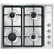 Smeg 60cm Stainless Steel Classic 4 Burner Gas Hob PS60GHC