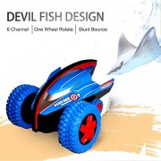 Stunt Action Monster Crazy Devil Gyro Car with Strong Bounce Power & Colorful Lights (Blue)