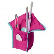 Necessaire/suport instrumente de scris, dimensiune 10,5x5,5x19,5cm roz/turcoaz