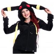 kapucnis pulóver női - Moon - CUPCAKE CULT - Black/Yellow