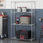 "TRINITY 36"" (91cm) EcoStorage™ 4-Tier Chrome Storage Unit Garage/Home Shelf"