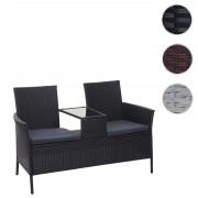 Poly-Rattan Sitzbank mit Tisch HWC-E24, Gartenbank Sitzgruppe Gartenmöbel, 132cm ~ Variantenangebot