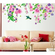 Vinyl Beautiful Bell Flowers And Humming Birds Wall Sticker