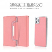 Litchi Texture Detachable Leather Wallet Cover Phone Case for iPhone 11 Pro Max 6.5 inch - Pink