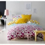 Lenjerie de pat Dormisete bumbac 100 Loving Matisse Rose pentru pat 2 persoane 4 piese 180x215 / 50x70 cearceaf pat uni galben