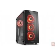"Sharkoon TG5, no PSU, 1x3.5"", 2x2.5"", USB3.0, ATX Midi Tower, Tempered glass side panel, Red"