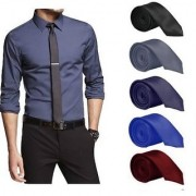 Men's Tie Combo of 5 Classic Satin Slim Necktie Casual(Colour Black Grey Navy Blue Royal Blue Maroon)- By Billebon