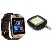 Zemini DZ09 Smart Watch and Mobile Flash for LG OPTIMUS L5 DUAL(DZ09 Smart Watch With 4G Sim Card Memory Card  Mobile Flash Selfie Flash)