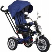 Tricicleta cu scaun reversibil Still 6-36 luni cu pozitie de somn roata cauciuc far luminos si panou muzical albastru