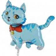 Fólia lufi, Mini forma, cica, kék, 36 cm