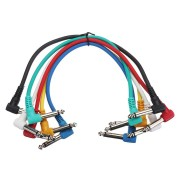 Right Angle 1/4' 6Pcs Guitar Effect Pedal Board Cable Patch Cord