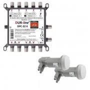 DUR-line DPC-32 K LNB Unicable I+II Wideband Multischalter + 2x LNB Set für 32 Teilnehmer