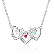 Herzschmuck Drei Herzen Stein Halskette