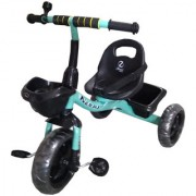 Tricycle for Kids Sea Green Color with Attractive Black Accessories - Safety Belt Bell & Front Back Basket for 2 years to 4 years