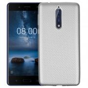 Nokia 8 Premium Carbon Fiber TPU Case - Silver
