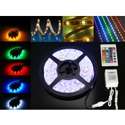 Banda LED RGB Multicolora cu Telecomanda, 300 LED-uri, Lungime 5m, Interior Exterior, Rezistenta la Apa
