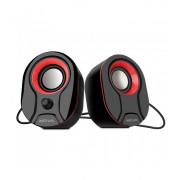 Astrum SU115 fekete-piros 2.0 csatornás 3,5MM multimédia hangszóró USB-s áramellátással, hangerőszabályozóval, prémium hangzással 2 X 3W