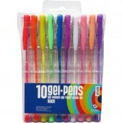 Haza 10 stuks neon gekleurde gelpennen