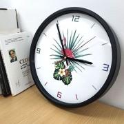12 Inch Home Office Room Flamingo Piña Patron De Arbol En Silencio No Marcando Redondo Reloj De Cuarzo De Pared Decorativos