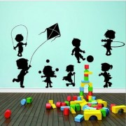 Decor Villa Wall Sticker (Kids playing games Surface Covering Area 17 x 12 Inch)