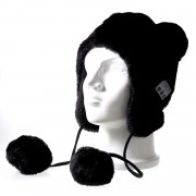 Fluffy Pompom Ball Bluetooth Music Hat with Stereo Headphone Speaker Hands-free Warm Outdoor Sports Hat for Men and Women - Black