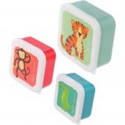 Geen 3x Broodtrommel/lunchbox dierentuin dieren print