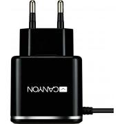 Kućni punjač micro USB Canyon CNE-CHA041BS, 1xUSB 5V-2.1A smart IC, crna
