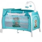 Бебешка кошара 2 нива с люлеещ механизъм - Lorelli ILounge, Green Cute Bear, 0740276